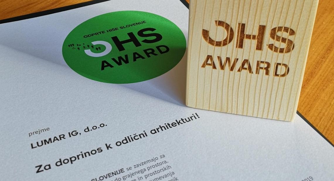 Lumar - Prejeli OHS AWARD za doprinos k odlični arhitekturi